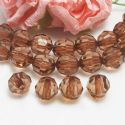 Beads, Imitation Crystal beads, Acrylic, brown, Faceted spherical, Diameter 10mm, 17g, 40 Beads, (SLZ0513)